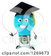Clipart Of A 3d Happy Blue Light Bulb Graduate Character Presenting Royalty Free Illustration