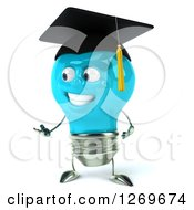 Clipart Of A 3d Happy Blue Light Bulb Graduate Character Presenting To The Left Royalty Free Illustration