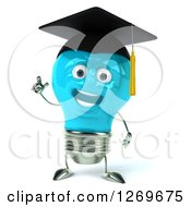Clipart Of A 3d Happy Blue Light Bulb Graduate Character With An Idea Royalty Free Illustration by Julos