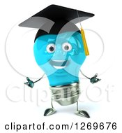 Clipart Of A 3d Happy Blue Light Bulb Graduate Character Welcoming Royalty Free Illustration