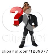 Clipart Of A 3d Handsome Black Businessman Holding A Question Mark Royalty Free Illustration