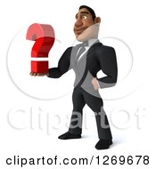 Clipart Of A 3d Handsome Black Businessman Facing Left And Holding A Question Mark Royalty Free Illustration by Julos
