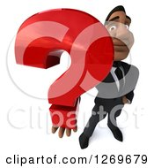 3d Handsome Black Businessman Holding Up A Question Mark