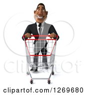Clipart Of A 3d Handsome Black Businessman Pushing An Empty Shopping Cart Royalty Free Illustration by Julos