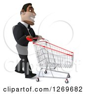 Clipart Of A 3d Handsome Black Businessman Pushing An Empty Shopping Cart To The Right Royalty Free Illustration by Julos