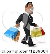 Clipart Of A 3d Handsome Black Businessman Carrying Shopping Bags And Walking To The Right Royalty Free Illustration by Julos
