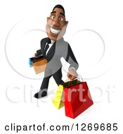Clipart Of A 3d Handsome Black Businessman Carrying Shopping Bags And Smiling Royalty Free Illustration by Julos
