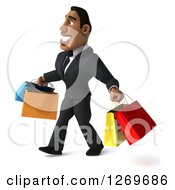 Clipart Of A 3d Handsome Black Businessman Carrying Shopping Bags And Walking To The Left Royalty Free Illustration by Julos