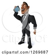 Clipart Of A 3d Handsome Black Businessman Talking On A Smart Phone Royalty Free Illustration