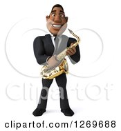 Clipart Of A 3d Handsome Black Businessman Or Musician Holding A Saxophone Royalty Free Illustration