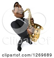 Clipart Of A 3d Handsome Black Businessman Or Musician Playing A Saxophone Royalty Free Illustration by Julos