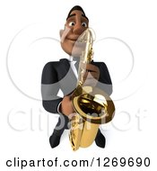 Clipart Of A 3d Handsome Black Businessman Or Musician Playing A Saxophone 2 Royalty Free Illustration by Julos