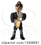 Clipart Of A 3d Handsome Black Businessman Or Musician Wearing Sunglasses And Playing A Saxophone Royalty Free Illustration by Julos