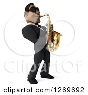 Clipart Of A 3d Handsome Black Businessman Or Musician Facing Right Wearing Sunglasses And Playing A Saxophone Royalty Free Illustration by Julos
