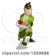 Clipart Of A Cartoon Green White Male Super Hero Facing Right And Holding A Beef Steak Royalty Free Illustration