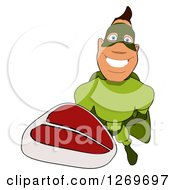 Clipart Of A Cartoon Green White Male Super Hero Holding Up A Beef Steak Royalty Free Illustration