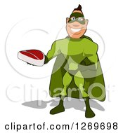 Clipart Of A Cartoon Green White Male Super Hero Holding Out A Beef Steak Royalty Free Illustration