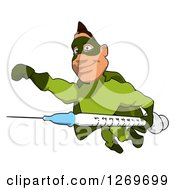 Clipart Of A Cartoon Green White Male Super Hero Flying With A Vaccine Syringe Royalty Free Illustration