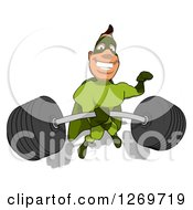 Clipart Of A Cartoon Green White Male Super Hero Lifting A Barbell One Handed Royalty Free Illustration by Julos