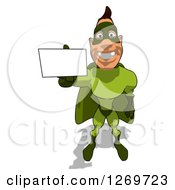 Clipart Of A Cartoon Green White Male Super Hero Holding Up A Business Card Royalty Free Illustration