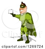 Clipart Of A Cartoon Green White Male Super Hero Facing Left And Holding Out A Business Card Royalty Free Illustration