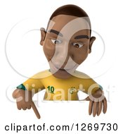 Clipart Of A 3d Black Male Brazilian Soccer Player Pointing Down Over A Sign Royalty Free Illustration