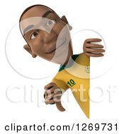 Clipart Of A 3d Black Male Brazilian Soccer Player Holding A Thumb Down A Sign Royalty Free Illustration