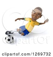 Clipart Of A 3d Black Male Brazilian Soccer Player Kicking A Ball Royalty Free Illustration