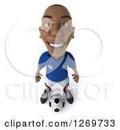 Clipart Of A 3d Black French Soccer Player Smiling Upwards And Standing Over A Ball Royalty Free Illustration