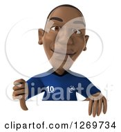 Clipart Of A 3d Black French Soccer Player Giving A Thumb Down Over A Sign Royalty Free Illustration