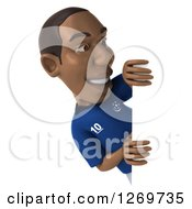 Clipart Of A 3d Black French Soccer Player Looking Around A Sign Royalty Free Illustration