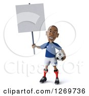Clipart Of A 3d Black French Soccer Player Holding Up A Blank Sign And A Ball At His Hip Royalty Free Illustration