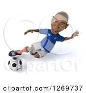 Clipart Of A 3d Black French Soccer Player Kicking A Ball Royalty Free Illustration by Julos