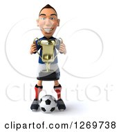 Clipart Of A 3d White French Soccer Player Holding A Trophy And Standing With A Ball Royalty Free Illustration