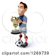 Clipart Of A 3d White French Soccer Player Facing Left Holding A Trophy And Standing With A Ball Royalty Free Illustration