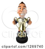 Clipart Of A 3d White French Soccer Player Holding Up A Trophy Royalty Free Illustration by Julos