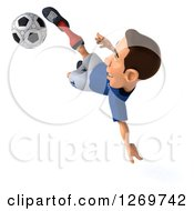 Clipart Of A 3d White French Soccer Player Catching Air And Kicking A Ball Royalty Free Illustration by Julos