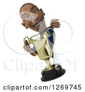 Clipart Of A 3d Black French Soccer Player Holding A Trophy Cup Around A Sign Royalty Free Illustration