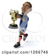 Clipart Of A 3d Black French Soccer Player Running With A Trophy Cup Royalty Free Illustration