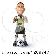 Clipart Of A 3d White German Soccer Player Holding A Trophy And Standing Over A Ball Royalty Free Illustration
