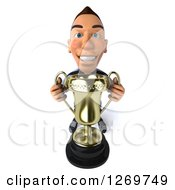 Clipart Of A 3d White German Soccer Player Holding Up A Gold Trophy Royalty Free Illustration