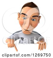 Clipart Of A 3d White German Soccer Player Pointing Down Over A Sign Royalty Free Illustration