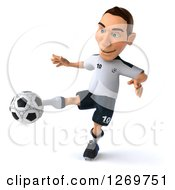 Clipart Of A 3d White German Soccer Player Kicking A Soccer Ball Royalty Free Illustration