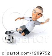 Clipart Of A 3d White German Soccer Player Sliding And Kicking A Soccer Ball Royalty Free Illustration