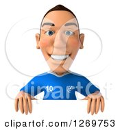Clipart Of A 3d White Italian Soccer Player Smiling Over A Sign Royalty Free Illustration