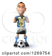 Clipart Of A 3d White Italian Soccer Player Holding A Trophy And Standing Over A Ball Royalty Free Illustration