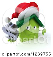 Clipart Of A 3d Unhappy Green Christmas House Character Giving A Thumb Down And Holding A Dollar Sign Royalty Free Illustration by Julos