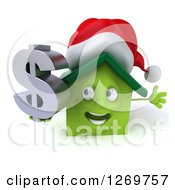 Clipart Of A 3d Happy Green Christmas House Character Holding A Dollar Sign Royalty Free Illustration by Julos