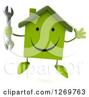 Clipart Of A 3d Happy Green House Character Jumping With A Wrench Royalty Free Illustration