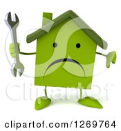 Clipart Of A 3d Unhappy Green House Character Holding A Wrench And Thumb Down Royalty Free Illustration